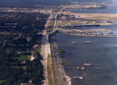 New Orleans Lakefront Airport Floodwalls, Three Bridges, Floodgate and Roadway